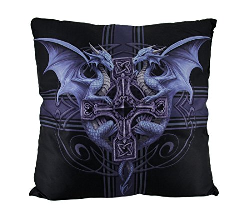 Polyester Throw Pillows Anne Stokes Gothic Dragon Duo Celtic Cross Throw Pillow 16 Inch 16 X 16 X 4.3 Inches (Celtic Cross Throw)
