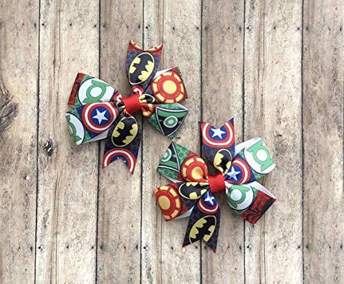Hair Bow Hero Super - Super Hero Hair Bow Set by Inspired Bows