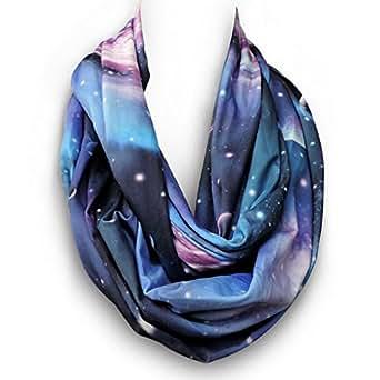 LiveBox Women's Soft Rayon Galaxy Universe Space Star Print Infinity Scarf(Blue)