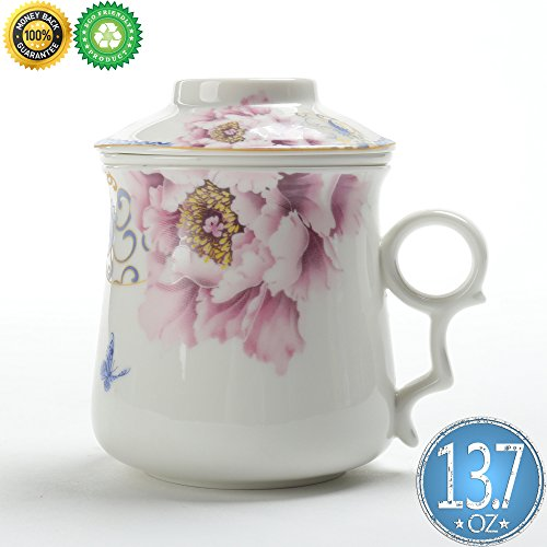 Ceramic Tea-Mug(13.7oz) with Filter/Steeper and Lid,TEANAGOO-Neptune,Modern China Porcelain Steel Filter/Infuser,infused Tea-Cup Maker, Brewing Pot Strainer,Women Father Work White Vintage Looser Leaf (Birthday Breakfast Ideas For Boyfriend)