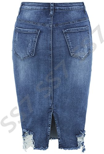 Tailles jeans 8 Mi Denim Bleu SS7 extensible dlav 14 femmes Jupe nouvelles EZUxxq4OwY