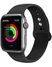 Ontube Bands Compatible with Apple Watch,Soft Silicone Adjustable Sport Replacement Straps for iWatch Series 4/3/2/1 (38MM/40MM, Black)