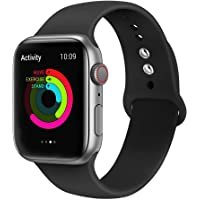 Ontube Bands Compatible with Apple Watch,Soft Silicone Adjustable Sport Straps for iWatch Series 5/4/3/2/1 (42MM/44MM, Black)