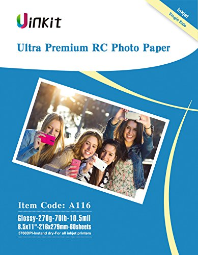 RC Ultra Premium Photo Paper - 8.5x11 High Glossy Photographic Paper 100% Waterproof - Uinkit 60Sheets For Inkjet Printing ()