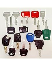 Heavy Equipment/Construction Ignition Key Set (15 Keys) Compatible with Volvo Caterpillar Komatsu JCB