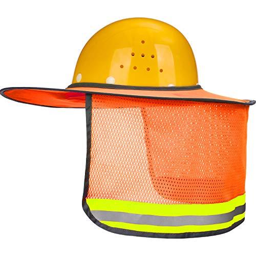 Maxdot 2 Pack Hard Hat Sun Neck Shield Full Brim Sunshade for Hard Hats, Reflective, High Visibility, Full Brim Mesh Sun Shade Protector (Orange)