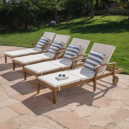Great Deal Furniture Daisy Outdoor Teak Finish Chaise Lounge with Cream Water Resistant Cushion (Set of 4)