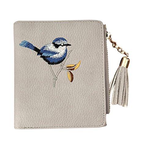 fourre sac sac Sansee broderie oiseau dames tout à Porte à monnaie gland portefeuille embrayages Femmes main main Gris sac c8wqF71RPF