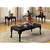 Furniture of America 3 Piece Chesapeake Table Set, Black
