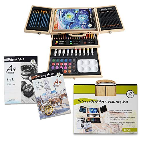 Conda 93 Piece Professional Art Set with 3 x 50 Page Drawing Pad, Deluxe Art Sett with Drawing Tools for Beginners Artists,Kids