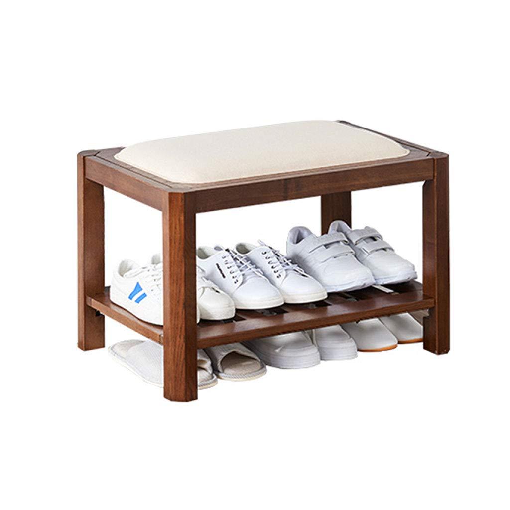 木製の靴の棚、スポンジと2層の靴オーガナイザーユニット柔らかいクッション木材廊下収納ベンチスタンド小さなクッションベンチマルチ階の靴アセンブリ収納家具 (サイズ さいず : 45.4x60x40) B07MTN8S55  45.4x60x40