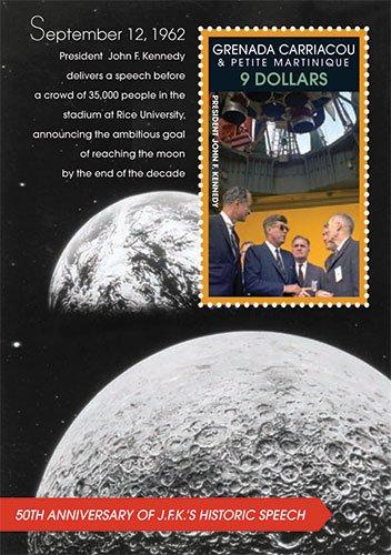 John F. Kennedy 50th Anniversary of JFK's Historic Speech / Space Exploration Collectors Stamp - Grenada (F Kennedy Stamp John)