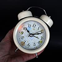 Twin Bell Retro Clock Quiet Non-ticking Sweep Second Hand with Nightlight and Loud Alarm