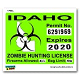 Idaho ID Zombie Hunting License Permit Green - Biohazard Response Team - Window Bumper Locker Sticker