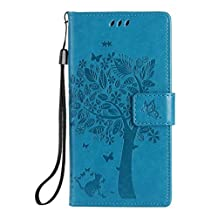 HUAWEI P8 Case, Solid Color Lucky Tree and Cat Embossing Pattern Folio Kickstand Case Wallet Case for HUAWEI P8 BY SKKIT ( Color : Blue , Size : HUAWEI P8 )