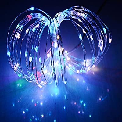 HAHOME Waterproof Led String Lights,33Ft 100 LEDs Indoor and Outdoor Starry Lights with Power Supply for Christmas Wedding and Party Decoration,RGB