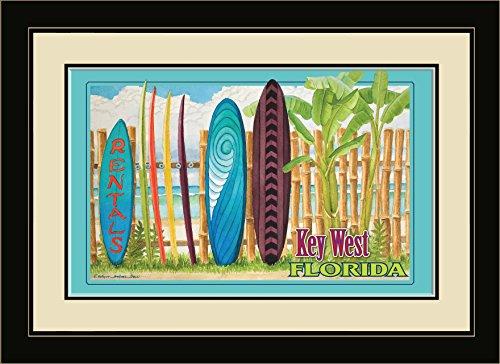 "Northwest Art Mall ED-5745 FGDM SRN Key West Florida Surfboard Rental Framed Wall Art by Artist Evelyn Jenkins Drew, 16 x 22"""