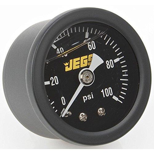 JEGS Performance Products 41513 Fuel Pressure Gauge 0-100 psi Black - Black Gauge Fuel