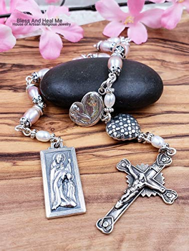 (Mother Mary Child Jesus Holy Family St Joseph Rose Pearls Sterling Tenner One Decade Rosary Chaplet Joy Love Protection Harmony Abundance)