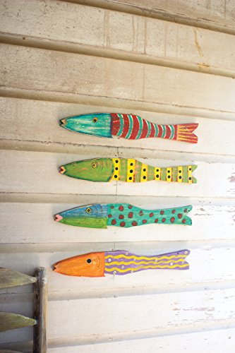KALALOU A5688 SET/4 RECYCLED WOOD ANTIQUE FISH