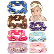 Baby Headbands Girl's Turban Headwrap, QandSweet Toddler Rabbit Ears Hairbands 8 Pack