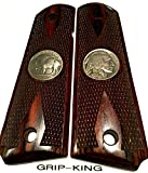 1911 GRIPS,SALE $39.88. GENUINE 1935 BUFFALO NICKELS FITTED IN BURLED COCOBOLO WOOD. FITS RUGER,COLT,KIMBER,SIG,SPRINGFIELD,TAURUS,PARA,ACE,REMINGTON,S & W,CLONES. MADE IN U.S.A.