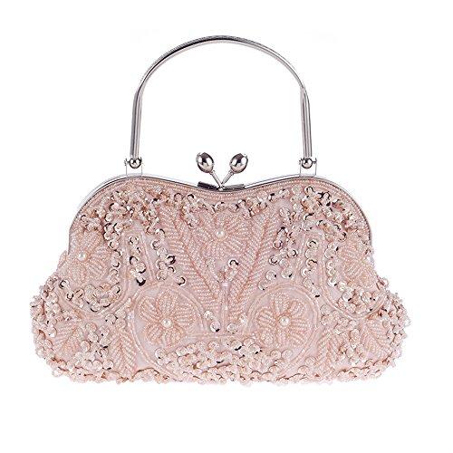 Womens Chain Satin Clutch Bag Luxury Evening Handbag Fabric Bridal Purse Clutch With Handle Pink