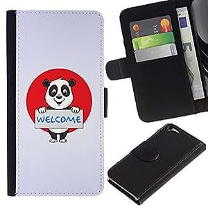 LASTONE PHONE CASE / Lujo Billetera de Cuero Caso del tirón Titular de la tarjeta Flip Carcasa Funda para Apple Iphone 6 4.7 / Friendly Welcome Panda Sign