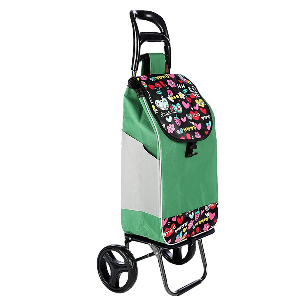 QING MEI ショッピングカート折りたたみ可能な大容量スモールカートポータブルトロリー回転ホイール家庭用食料品の買い物カゴ A+ (色 : Green) B07K3SH9Q9 Green