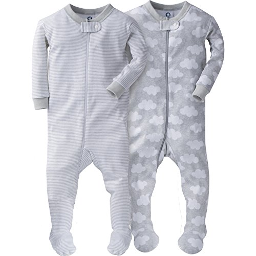 Gerber Baby Boys' 2 Pack Footed Sleeper, Clouds/Stripes, 9 Months ()