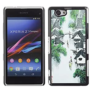 PC/Aluminum Funda Carcasa protectora para Sony Xperia Z1 Compact D5503 China Waterfall River Mountain Village Art / JUSTGO PHONE PROTECTOR