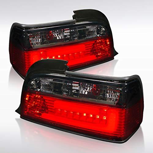 Autozensation For BMW E36 3-Series 2Dr Red Smoke LED Light Bar Rear Tail Brake Lights Pair