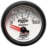 Auto Meter 7527 Phantom II 2-1/16'' 0-100 PSI Short Sweep Electric Oil Pressure Gauge