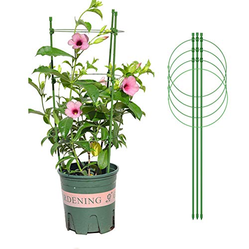 ANLAWIN Plant Support Cages, 4-Pack 18 Inches Tomato Trellis Adjustable Rings Plant Support Stakes for Garden Climbing Plant with 4 Self Watering Spikes and 20 Plant Clips (Size A)