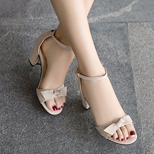 Bowtie Size Heel Lace Black Hiking Beige High Womens up 2 Open Toe Lolittas Slingback 6 Platform Sandals Gladiator 8cqnFqzp