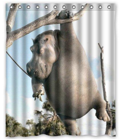 Amazon Creative Bath Hippo White Shower Curtain 60 X 72