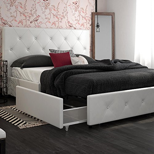 DHP Dakota Upholstered Platform Bed with Storage Drawers, White Faux Leather, Queen