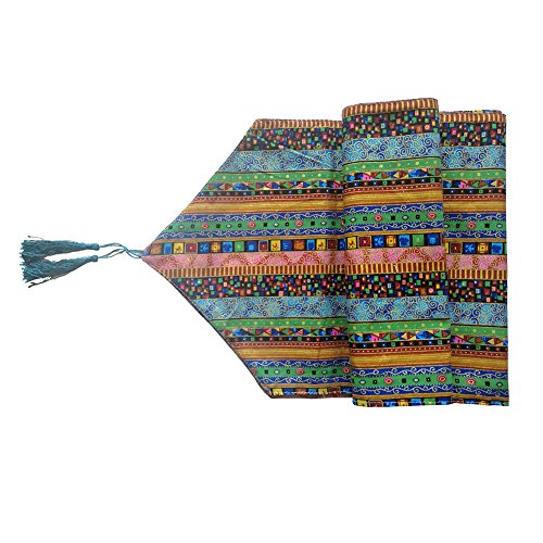 Aothpher Ornate Chevron Multi-Color Boho Stripes Pattern Washable Cotton Table Runner with Tassels, 12x78 ()