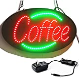 Keria New Coffee Shop 24H LED neon Open sign Business Animated Motion Display Board with Motion Cafe LED NEON Signs ,Fixed / Flash Mode+On/Off Switch Bright Light Neon+Chain