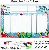 CKB LTD Pizarra Magnética con Gráfico de premios con criaturas del Océano para un máximo de tres niños fija 42 x 29 cm, con 3 marcadores de colores A3 ...
