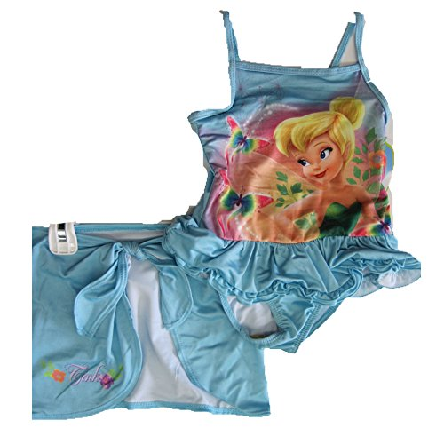 Disney Little Girls Sky Blue Tinker Bell Print Skirt 2 Pc Swimsuit (Disney Memorial)