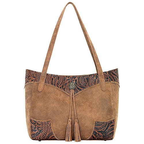 AMERICAN WEST BANDANA LEATHER GUNS AND ROSES SECRET TOTE LADIES HANDBAG BROWN by Bandana By American West