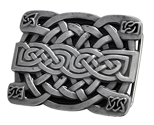 Buckle Rage Men's Celtic Endless Knot Braided Art Design Belt Buckle Black - Design Belt Buckle