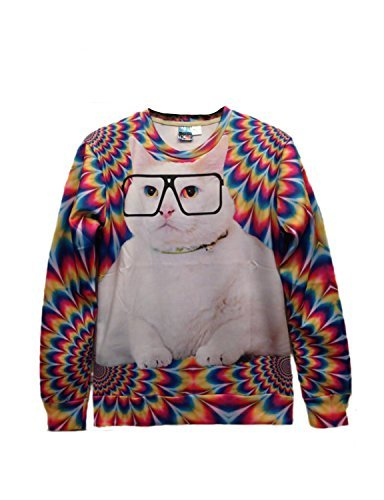 Pink Queen Pullover 3d Design Glasses Cat Print White Sweatshirt Sweater Hoodies (L)