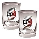 NBA Portland Trailblazers Two Piece Rocks Glass Set - Primary Logo