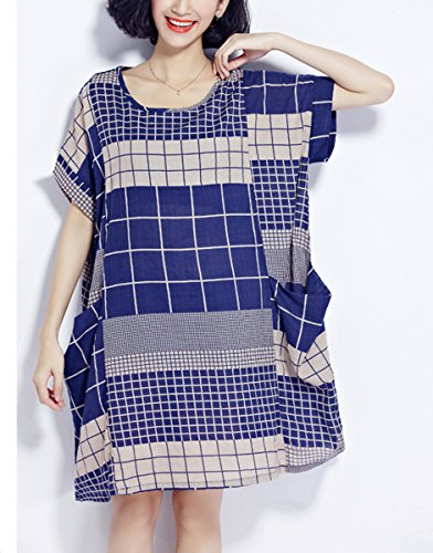 Ga621 Grande Plaid GA621 Taille t Femme ELLAZHU Courtes Large Robe Blue Sleeves nvWZ11Hqx