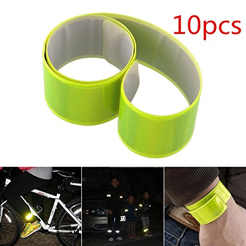 KKTech Reflective Arm Bands High Visibility Safety Gear for Running,Cycling, Walking,Hiking,Jogging-Wearable as Ankle Bands, Armband, Wristbands-Elastic, Lightweight, Adjustable (10PCS Neon Yellow)