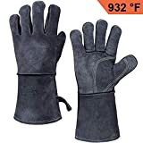 OZERO Grill BBQ Gloves 932°F Heat Resistant Leather Welding Glove - Long Sleeve and Heat Proof Cotton for Barbecue/Oven/MIG/TIG Welder/Animal Handling - Gray(14 inches)