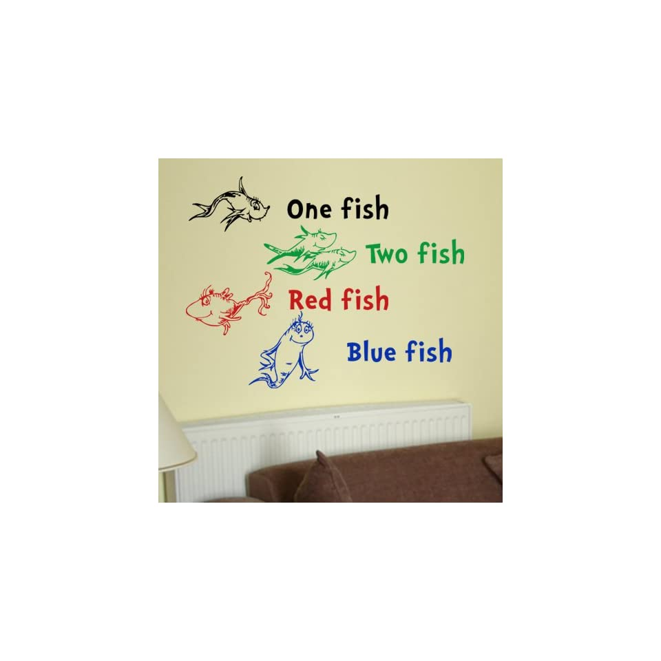 Dr Seuss One Fish Two Fish Red Fish Blue Fish Wall Quote Vinyl Wall Art Decal Sticker