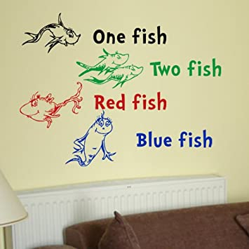 Dr Seuss One Fish Two Fish Red Fish Blue Fish Wall Quote Vinyl Wall Art  Decal